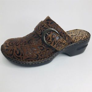 b.o.c. Born Concept Brown Paisley Leather Mules